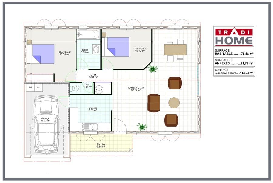 Maison à ossature bois - Modèle 1